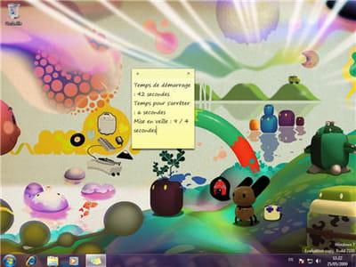page d'accueil de windows 7 et bloc notes