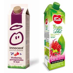 le smoothie myrtille, grenade et açai d'innocent et le jus raisin, cranberry,