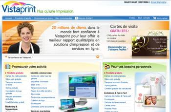 la page d'accueil de vistaprint.com