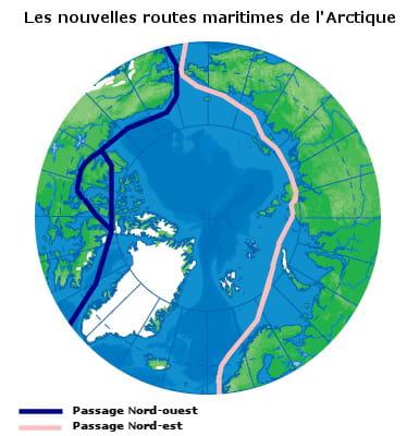 les passages nord-ouest et nord-est ouverts dans l'océan arctique grâce à la