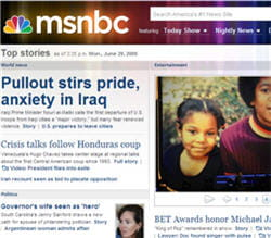 page d'accueil du sitemsnbc.com.