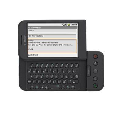 g1, le premier téléphone équipé d'android.