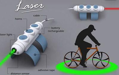 le laser de sécurité pour vélo.