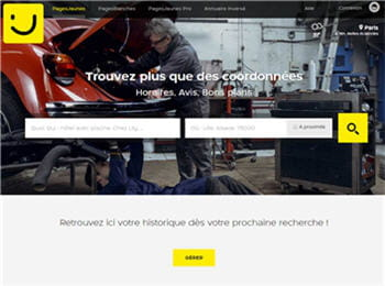 page d'accueildu site des pages jaunes
