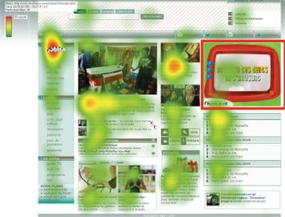 exemple de page d'accueil avec pavé publicitaire. les zones rouges sont les plus