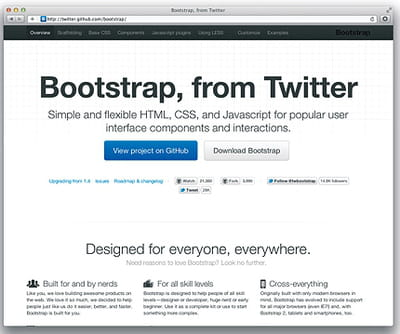 figure 5-4 : page d'accueil du projet twitterbootstrap.