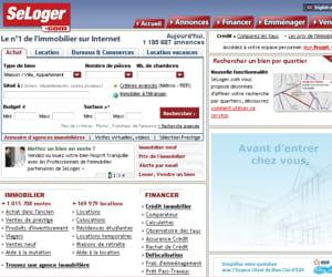 un capture d'écran du site internet seloger.com.