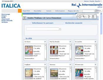 copie d'écran du site italica, de la rai internazionale