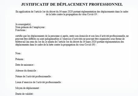 Justificatif de déplacement professionnel: téléchargez le formulaire