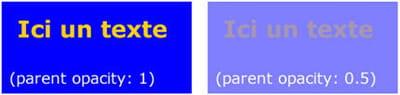 principe d'opacité (opacity) sur un élément