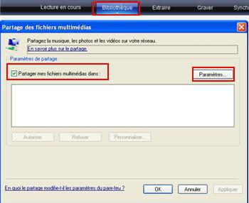 l'écran de partage des fichiers multimédia sous windows media player
