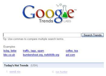 la page d'accueil de google trends