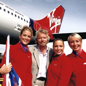 richard branson et sa dream-team d'hôtesses de l'air