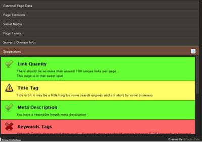 copie d'écran de seo site tools