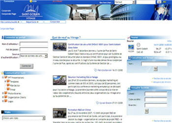 la page d'accueil du site intranet de saint-gobain vitrage.