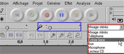 en rouge, le choix de la source, en bleu le volume de l'enregistrement