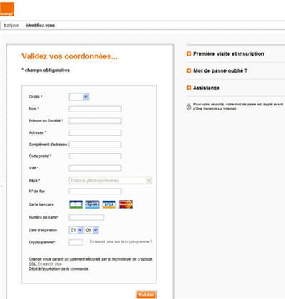 un exemple de phishing avec un faux site d'orange