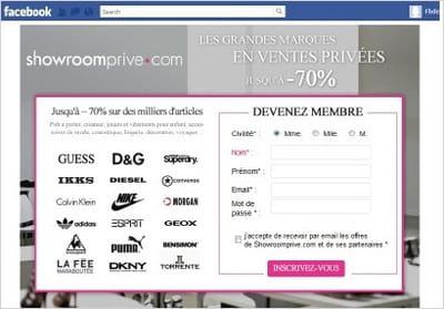 formulaire d'inscription à showroomprivé intégré à son application facebook