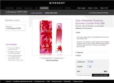 exemple de fiche produit de la boutique en ligne givenchy