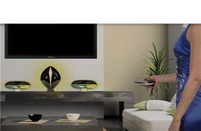 ces jolies formes que l'on voit sous le téléviseur sont un centre multimédia
