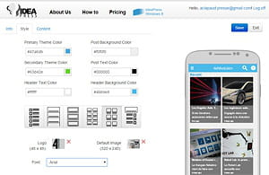 ideapress dispose d'une configurateur d'app mobile.