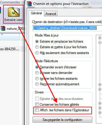 copie d'écran du menu d'extraction sous winrar.