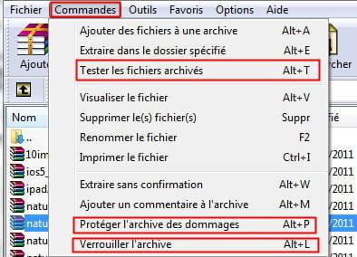 le menu commandes sous winrar qui donne accès aux options correspondantes.
