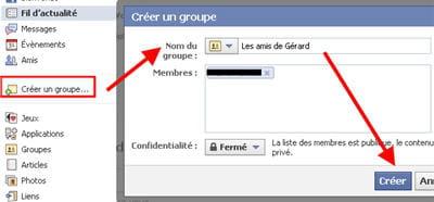copie d'écran de la fonction groupes sur facebook