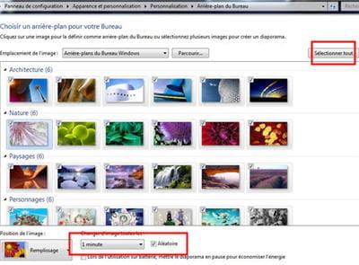 cochez manuellement les fonds d'écran ou cliquez sur 'tout sélectionner en haut