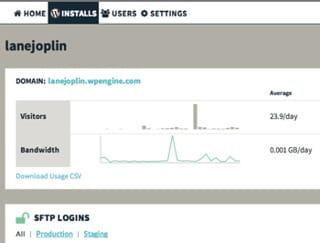 capture de l'interface de wp engine de suivi du trafic.