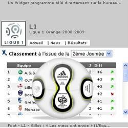 exemple d'un widget affichant le classement du championnat de footblall avec une
