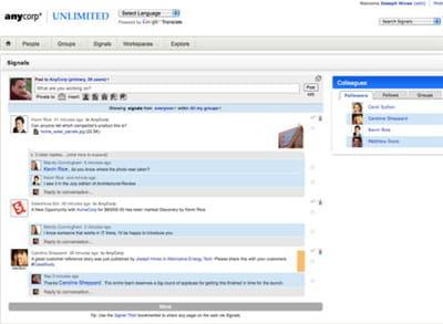 capture d'écran socialtext