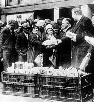chômeurs faisant du troc pendant la crise économique de 1929, aux etats-unis.