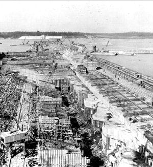 construction du barrage wheeler sur le fleuve tennessee.