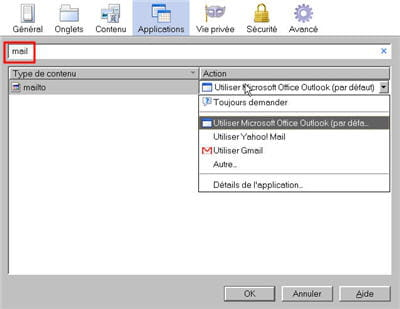 tapez 'mail' dans les applications pour accéder directement au choix du client