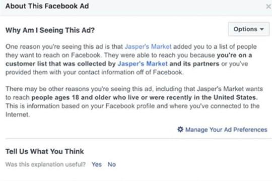 Facebookva vous révéler quelles entreprises ont utilisé vos données