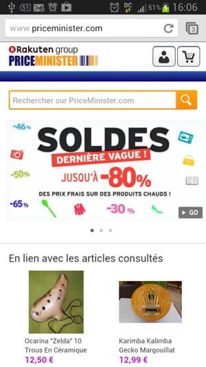 comme avec le responsive web design, la même url de priceminister sert aussi un