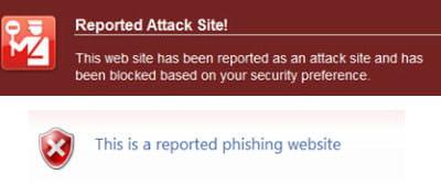 les deux navigateurs peuvent détecter les sites malveillants (affichage firefox