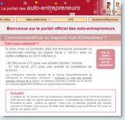 capture d'écran du portail de l'auto-entrepreneur.