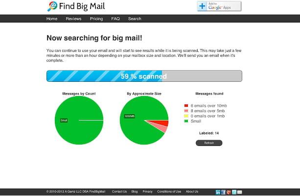 Find Big Mail trouve les e-mails qui prennent de la place dans votre boite de réception et les supprime