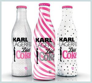 les bouteilles coca cola light imaginées par karl lagerfeld.