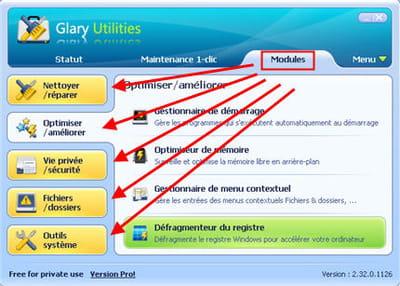 le menu modules débloque l'accès à des fonctions additionnelles bien pratiques