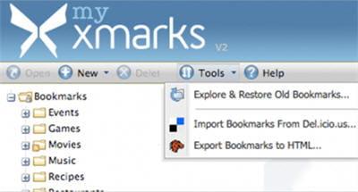 copie d'écran de l'extension firefox xmarks.