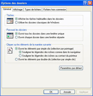 le menu options des dossiers sur le poste de travail de windows xp.