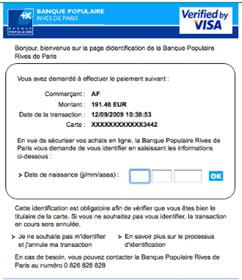demande d'authentification 3dsecure sur le site marchand d'air france