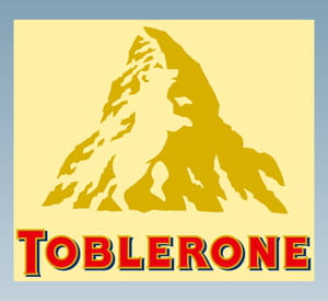 l'ours de toblerone rappelle les origines suisses de la marque.