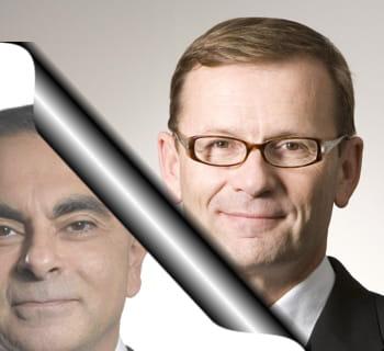 de gauche à droite : carlos ghosn et patrick pélata.
