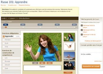 copie d'écran du site livemocha, leçon débutant en russe.