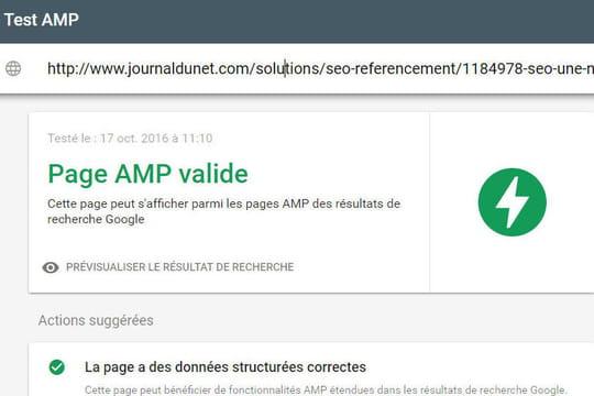 Google propose un outil pour tester lespages AMP