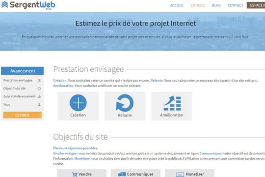 SergentWeb estime en quelques clics le prix de création de votre site Web